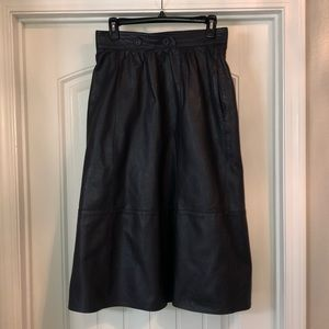 Vintage German Leather Gray Maxi Skirt